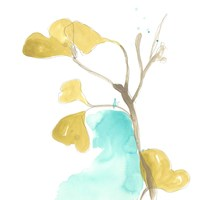 Teal and Ochre Ginko IX Fine-Art Print