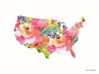 Floral USA Map Fine-Art Print