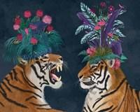 Hot House Tigers, Pair, Dark Fine-Art Print