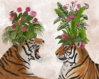 Hot House Tigers, Pair, Pink Green Fine-Art Print