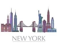 New York Skyline Coloured Buildings Fine-Art Print