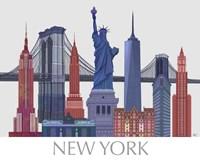 New York Landmarks , Red Blue Fine-Art Print