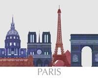 Paris Landmarks , Red Blue Fine-Art Print