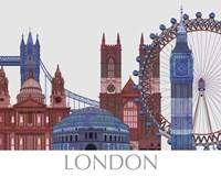 London Landmarks , Red Blue Fine-Art Print