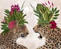 Hot House Leopards, Pair, Pink Green Fine-Art Print