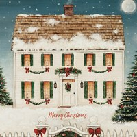 Merry Lil House Sq Merry Christmas Fine-Art Print