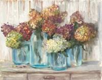 Hydrangeas in Glass Jars White Wood Fine-Art Print