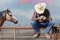 Cowboy On Fence Fine-Art Print