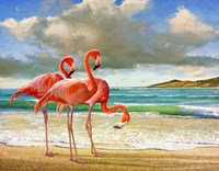 Beach Scene Flamingos Fine-Art Print