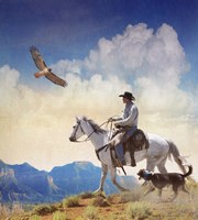 Cowboy With Dog And Hawk Fine-Art Print
