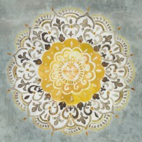 Mandala Delight IV Yellow Grey Framed Print