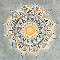Mandala Delight I Yellow Grey Framed Print