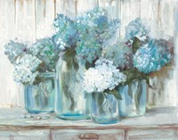 Hydrangeas in Glass Jars Blue Fine-Art Print