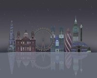 London Skyline Night Reflections Fine-Art Print