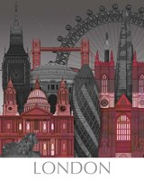 London Elevations by Night Red Fine-Art Print