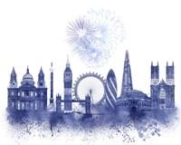 London Skyline Watercolour Splash Blue Fine-Art Print