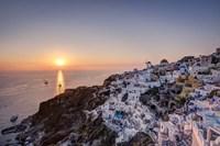 Ship Sailing into the Sunset in Oia Greece Fine-Art Print