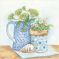 Blue and White Pottery with Flowers I Fine-Art Print