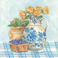 Blue and White Pottery with Flowers II Fine-Art Print