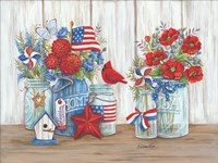 Patriotic Glass Jars with Flowers Fine-Art Print