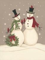 Wreath & Cardinal Snowmen Fine-Art Print