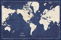 Blueprint World Map Fine-Art Print