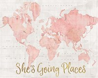 Across the World Shes Going Places Pink Fine-Art Print