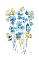 Blue and Gold Watercolor Floral Fine-Art Print