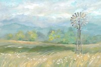 Country Meadow Windmill Landscape Fine-Art Print