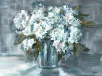 White Hydrangeas on Gray Landscape Fine-Art Print