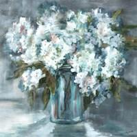 White Hydrangeas on Gray Fine-Art Print
