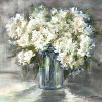 White and Taupe Hydrangeas Sill Life Fine-Art Print