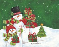 Father and Son Merry Christmas Snowmen Fine-Art Print