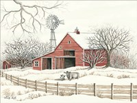 Winter Barn with Windmill Fine-Art Print