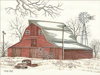 Winter Barn with Pickup Truck Fine-Art Print