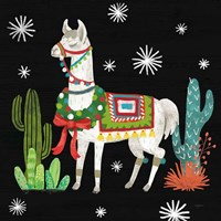 Lovely Llamas V Christmas Black Fine-Art Print