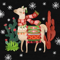 Lovely Llamas IV Christmas Black Fine-Art Print