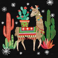 Lovely Llamas III Christmas Black Fine-Art Print
