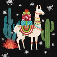 Lovely Llamas II Christmas Black Fine-Art Print