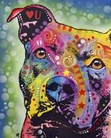 Thoughtful Pit Bull White Bubble Fine-Art Print