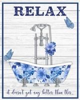 Blue Floral Bath Art A Fine-Art Print