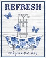 Blue Floral Bath Art B Fine-Art Print