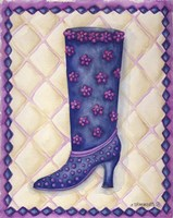Boots Blue With Pink Flowers Dots Fine-Art Print