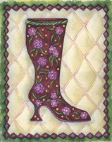 Boots Magenta With Roses With Leaves Fine-Art Print