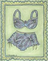Lingerie Blue Bra Panties Fine-Art Print