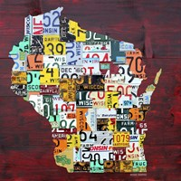 Wisconsin Counties License Plate Map Fine-Art Print