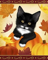 Falling Leaves Cat Fine-Art Print