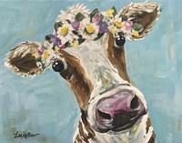 Cow Miss Moo Moo Turquoise Flower Crown Fine-Art Print