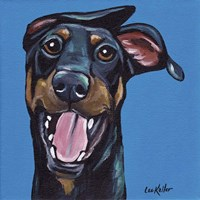 Doberman On Blue Fine-Art Print