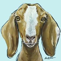 Goat Square Blue Fine-Art Print